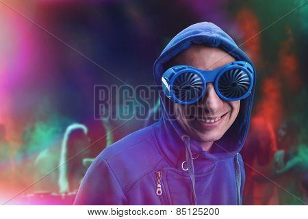 Man in party glasses
