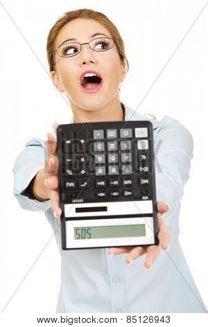 Fear woman with sos on calculator.