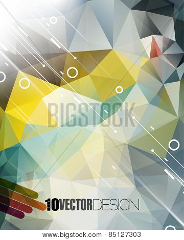 geometric triangle elements and diagonal lines and rings business background eps10 vector