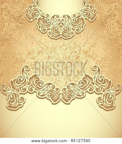 Template vintage background gold