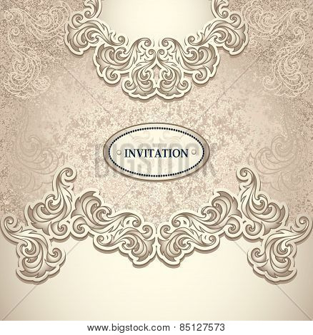 Template vintage background pearly beige