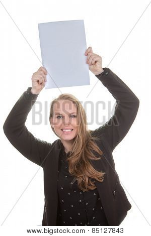 happy woman holding blank white paper