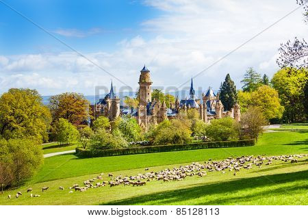 Lion castle Lowenburg in Germany and herd of sheep