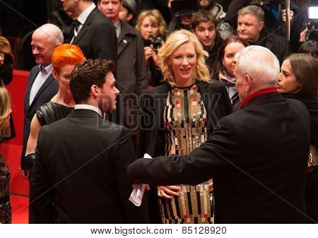 BERLIN, GERMANY - FEBRUARY 13, 2015: Richard Madden, Lily James, Cate Blanchett. 'Cinderella' premiere. Berlinale Palace on February 13, 2015 in Berlin, Germany.
