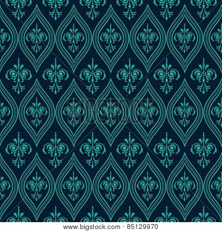 Luxury Damask seamless pattern. Blue color. Vector illustrations