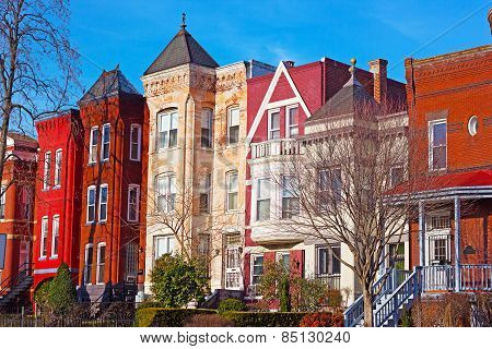 Residential row houses in US Capital during winter time.