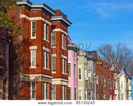 Colorful brick townhouses of Washington DC.
