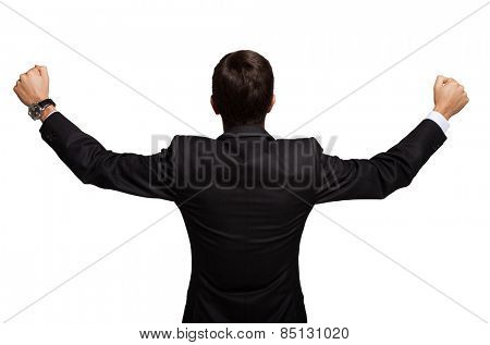 Back portrait of a very happy man. Isolated on white