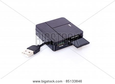 SD card and reader on white