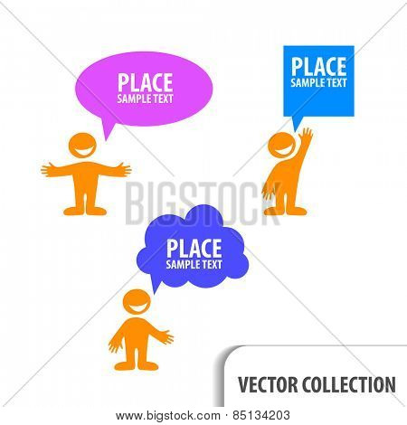 man icon with colorful dialog speech bubbles