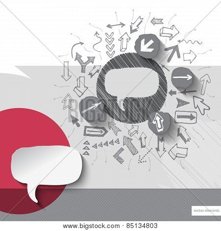 Hand drawn speech bubble icons with icons background