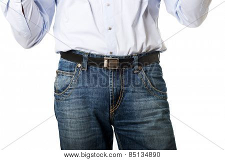Close up on men in jeans trousers.