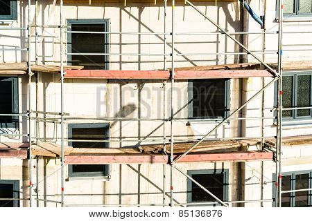 Construction of new house with scaffolding