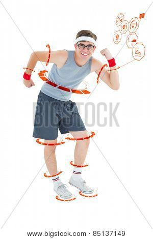 Geeky hipster posing in sportswear against fitness interface