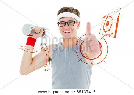 Geeky hipster posing in sportswear with dumbbell against fitness interface
