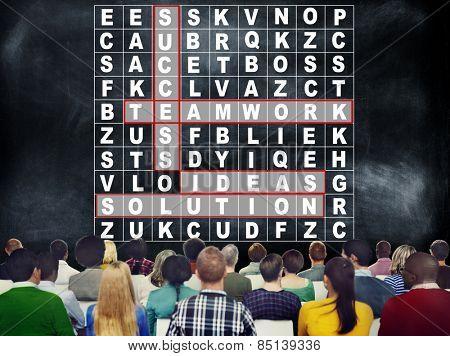 Success Crossword Puzzle Words Achievement Game Concept