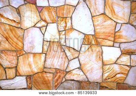 Flat stone wall or walkway