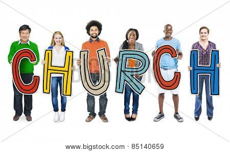 DIverse People Holding Text Church Concept