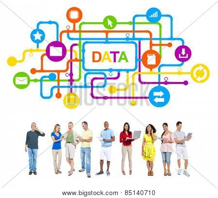 Multi-Ethnic Group of People and Data Concept