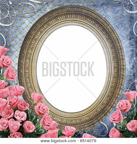Vintage Frame for photo with  pink roses on grange blue backgruond