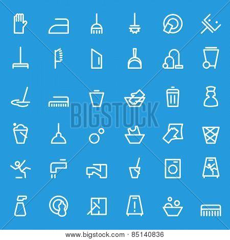 Cleaning icons, simple and thin line design