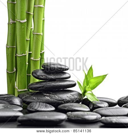 zen basalt stones and bamboo isolated on white