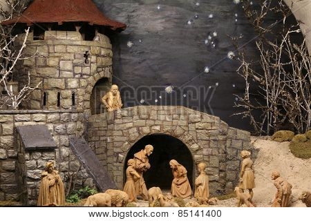 ELLWANGEN, GERMANY - MAY 07: Nativity scene, Basilica of St. Vitus in Ellwangen, Germany on May 07, 2014.