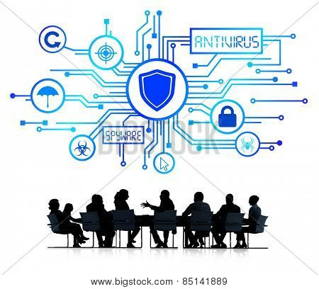 Silhouettes of Business People and Antivirus Concept