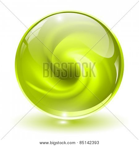 3D green glass sphere, with abstract spiral shape inside.