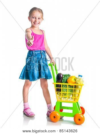 cute little  girl with a basket of products from the supermarket isolated on  white