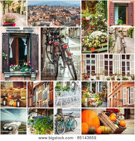 Collage of photos beautiful views of European cities