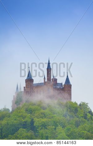 View of Hohenzollern castle in haze during summer