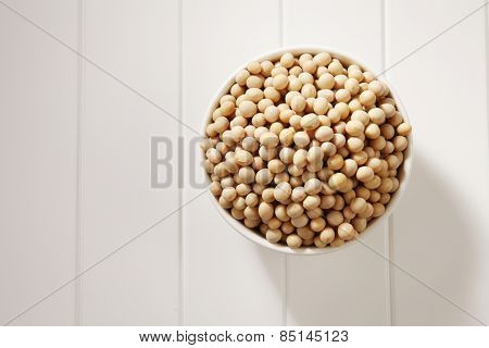 top view of soy bean in a white bowl