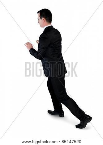 Isolated business man push something