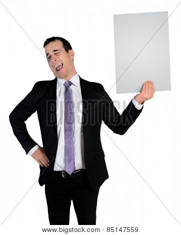Isolated business man laugh at empty file