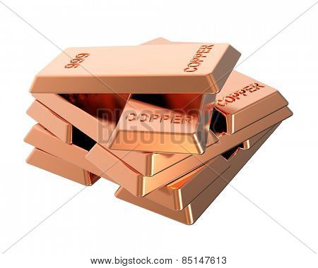 Copper ingots isolated on white. Computer generated 3D photo rendering.