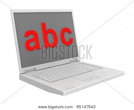 Laptop with ABC letters on the screen isolated over white.