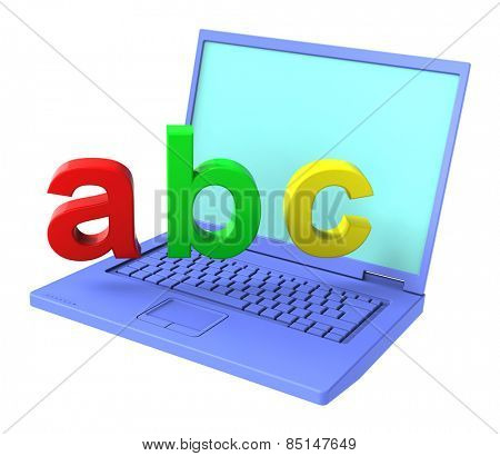 Laptop with ABC letters isolated over white. Computer generated 3D photo rendering.
