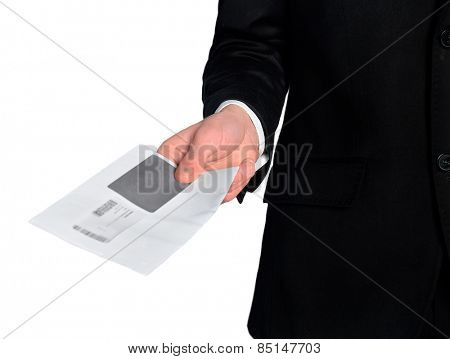 Isolated business man delivery mail