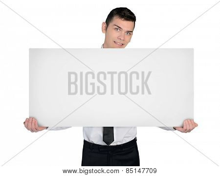 Isolated business man with empty board