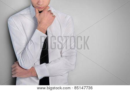 Business man thinking solution closeup