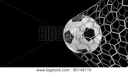 Soccer goal on black background