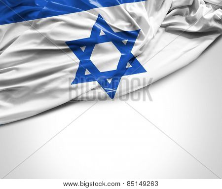 Israeli waving flag on white background