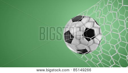 Soccer goal on green background