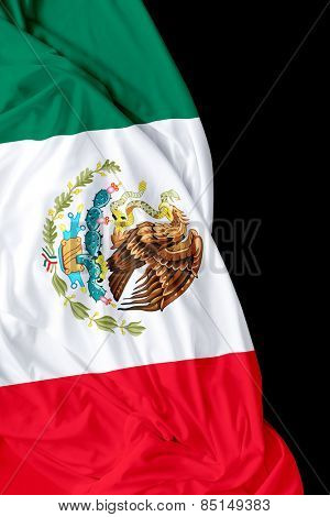 Mexican waving flag on black background