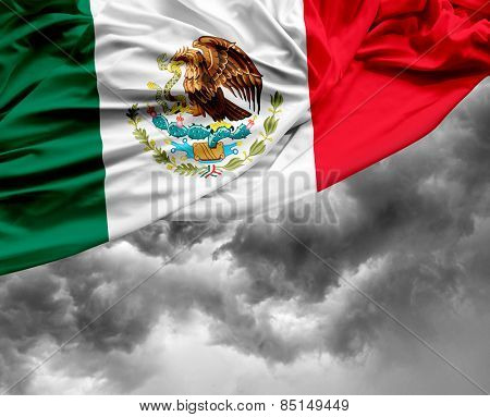 Mexican waving flag on a bad day