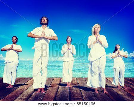 People Yoga Meditation Beach Nature Peaceful Concept