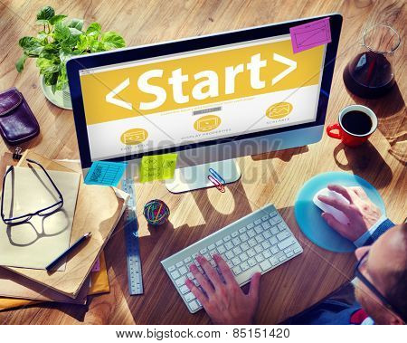 Digital Online Start Begin Start Up New Concept