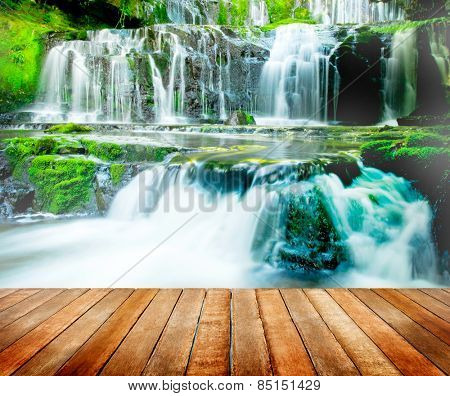 Beautiful Cascading Waterfall Nature New Zealand Concept