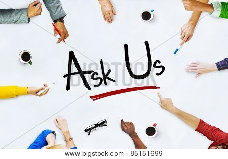 Multi-Ethnic Group of People and Ask Us Concept